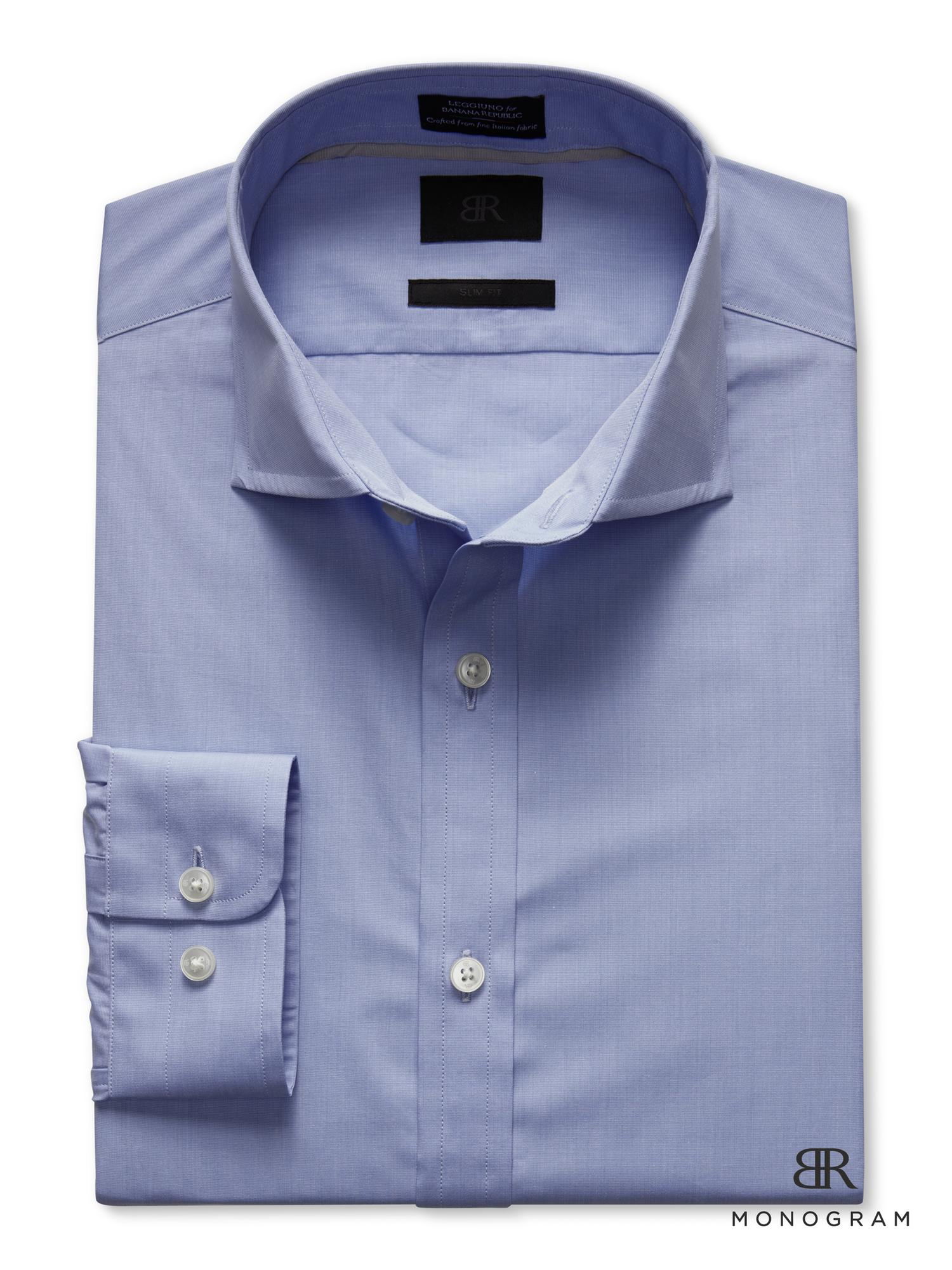 Banana republic br monogram solid dress shirt in blue for for Initials on dress shirts
