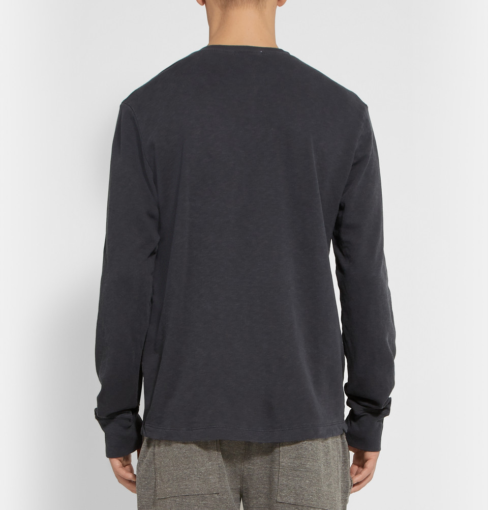 James Perse Supima Cotton Henley T Shirt In Gray For Men