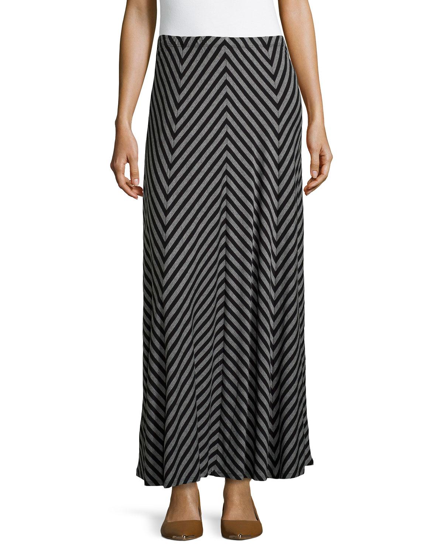 lyst neiman marcus chevron maxi skirt in black