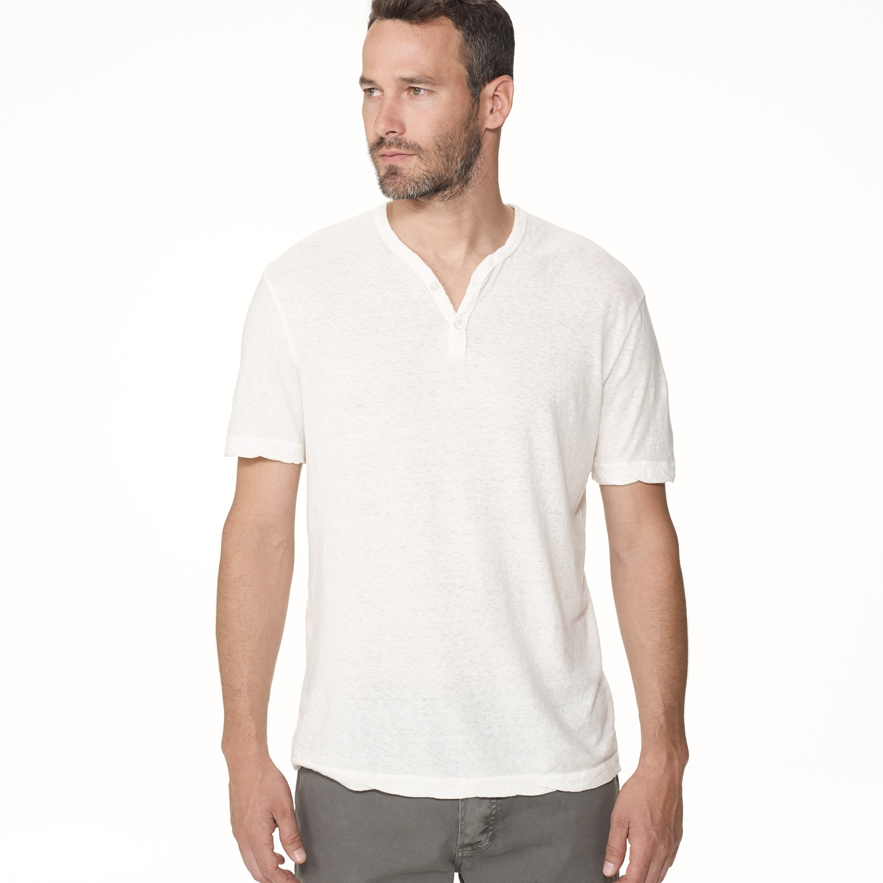 James perse revival jersey v neck henley in white for men for James perse henley shirt
