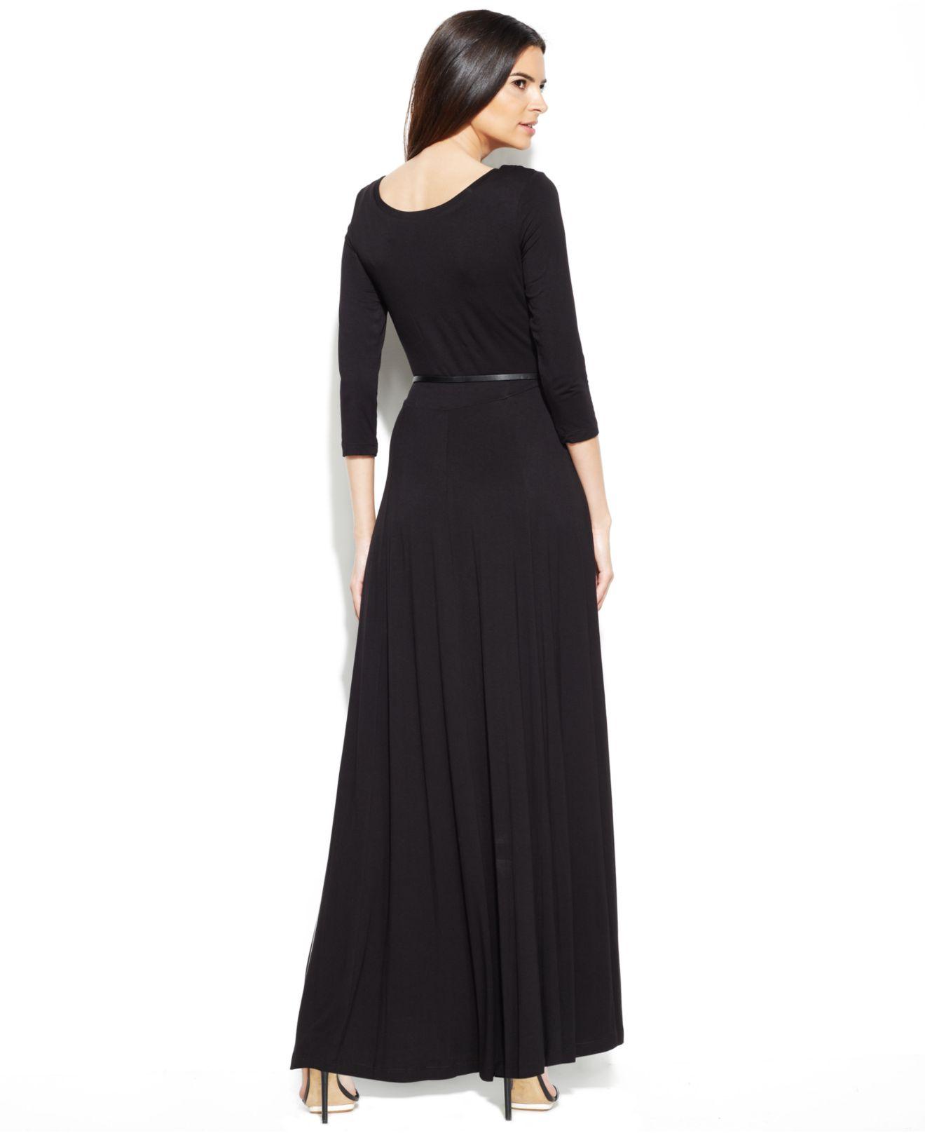Calvin Klein Three-Quarter-Sleeve Belted Maxi Dress In Black