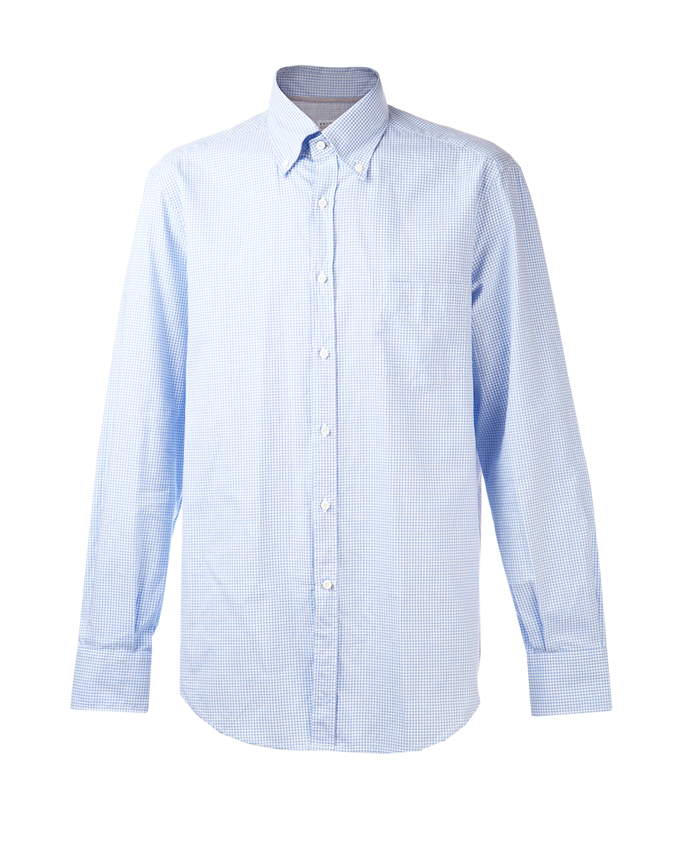 Brunello Cucinelli Gingham Button Down Shirt In Blue For