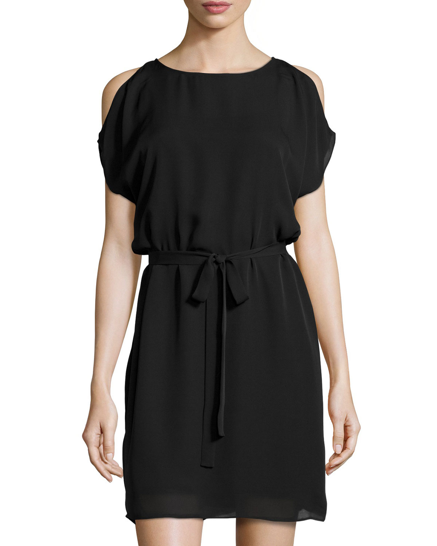 Joie Sarama Cold-Shoulder Belted Dress in Black