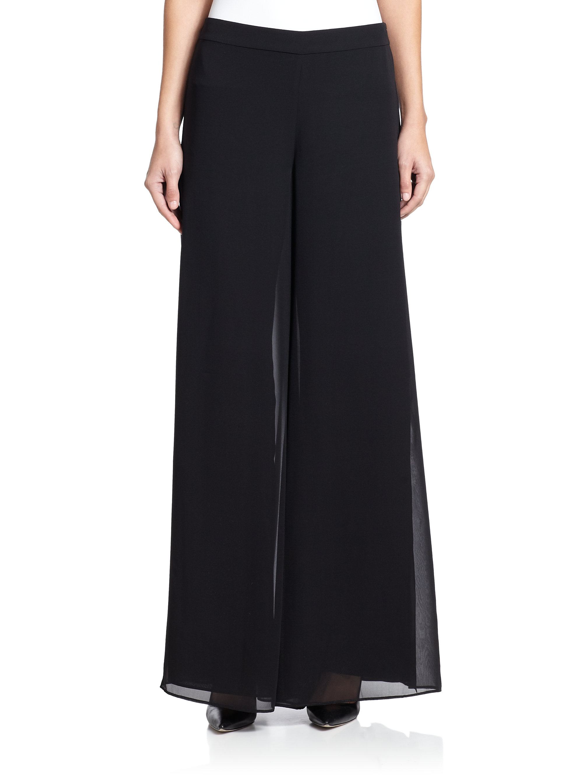 St. john Caviar Collection Silk Georgette Wide-leg Pants ...