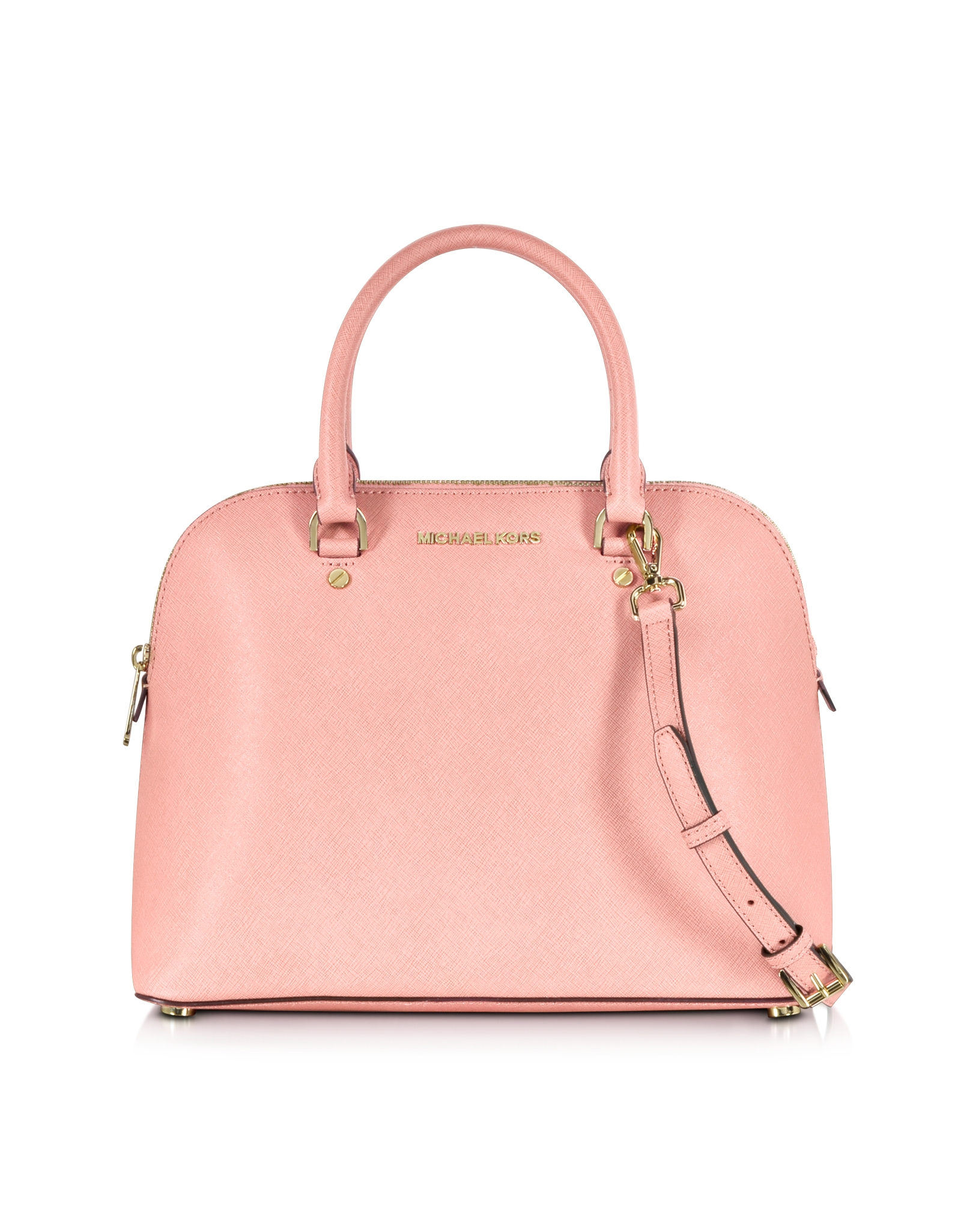 michael kors cindy large saffiano leather dome satchel bag in pink lyst. Black Bedroom Furniture Sets. Home Design Ideas