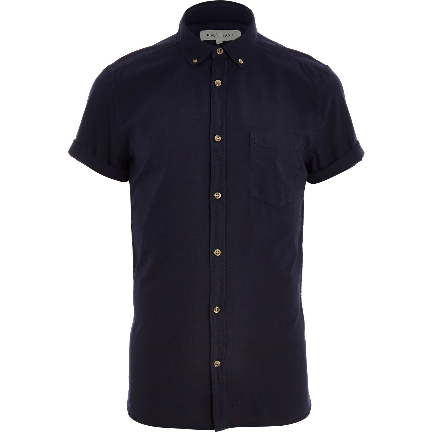 Men 39 s river island shirts lyst for Navy short sleeve shirt