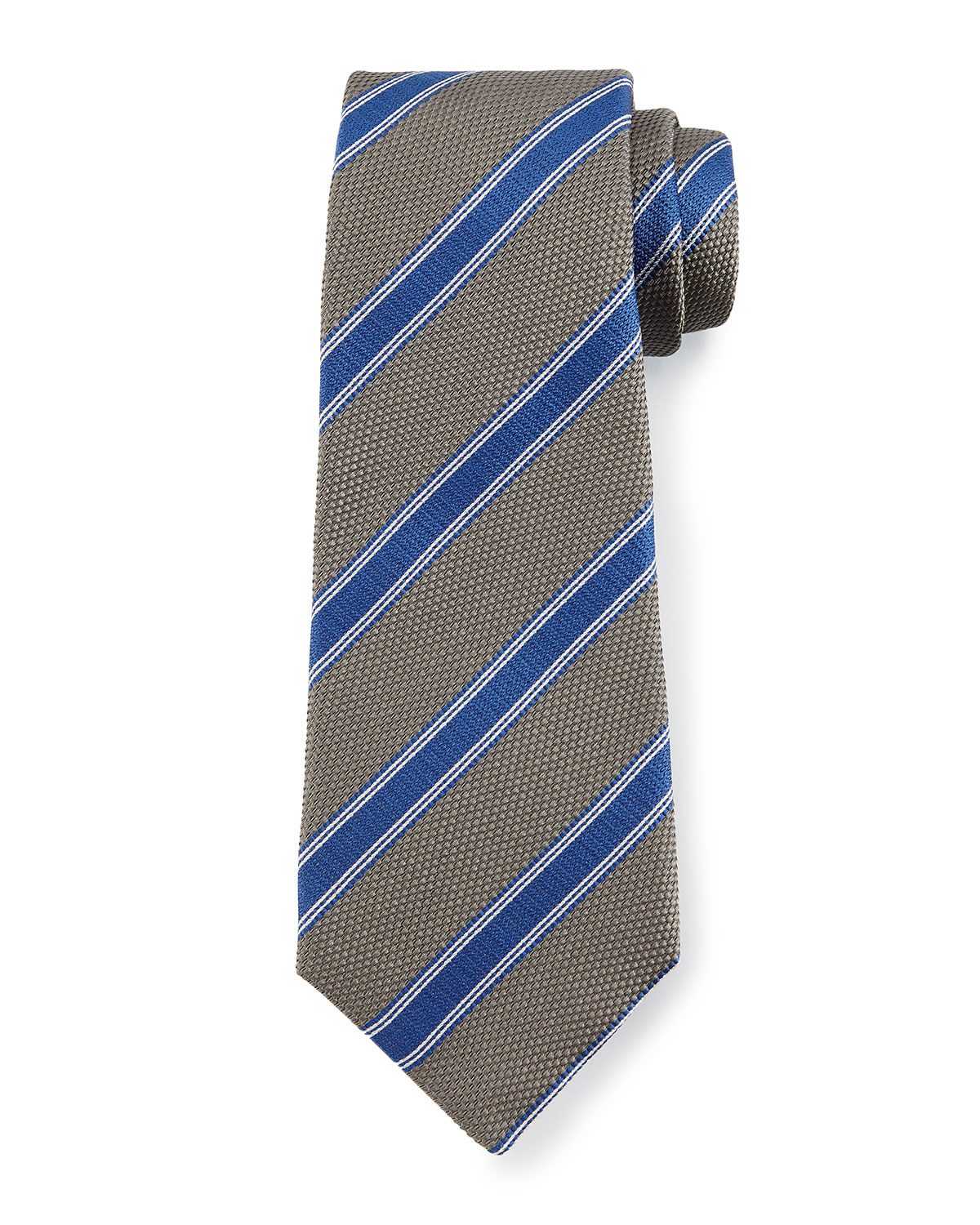 kiton textured diagonal stripe tie in blue for lyst