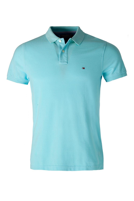 tommy hilfiger tommy slim fit short sleeve polo in blue. Black Bedroom Furniture Sets. Home Design Ideas