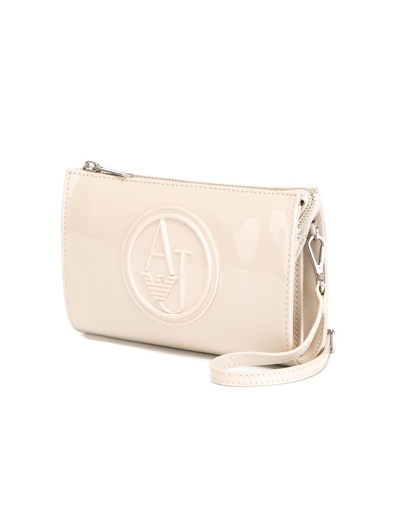 f3c1a81656 Armani Jeans Embossed Logo Clutch in Natural - Lyst