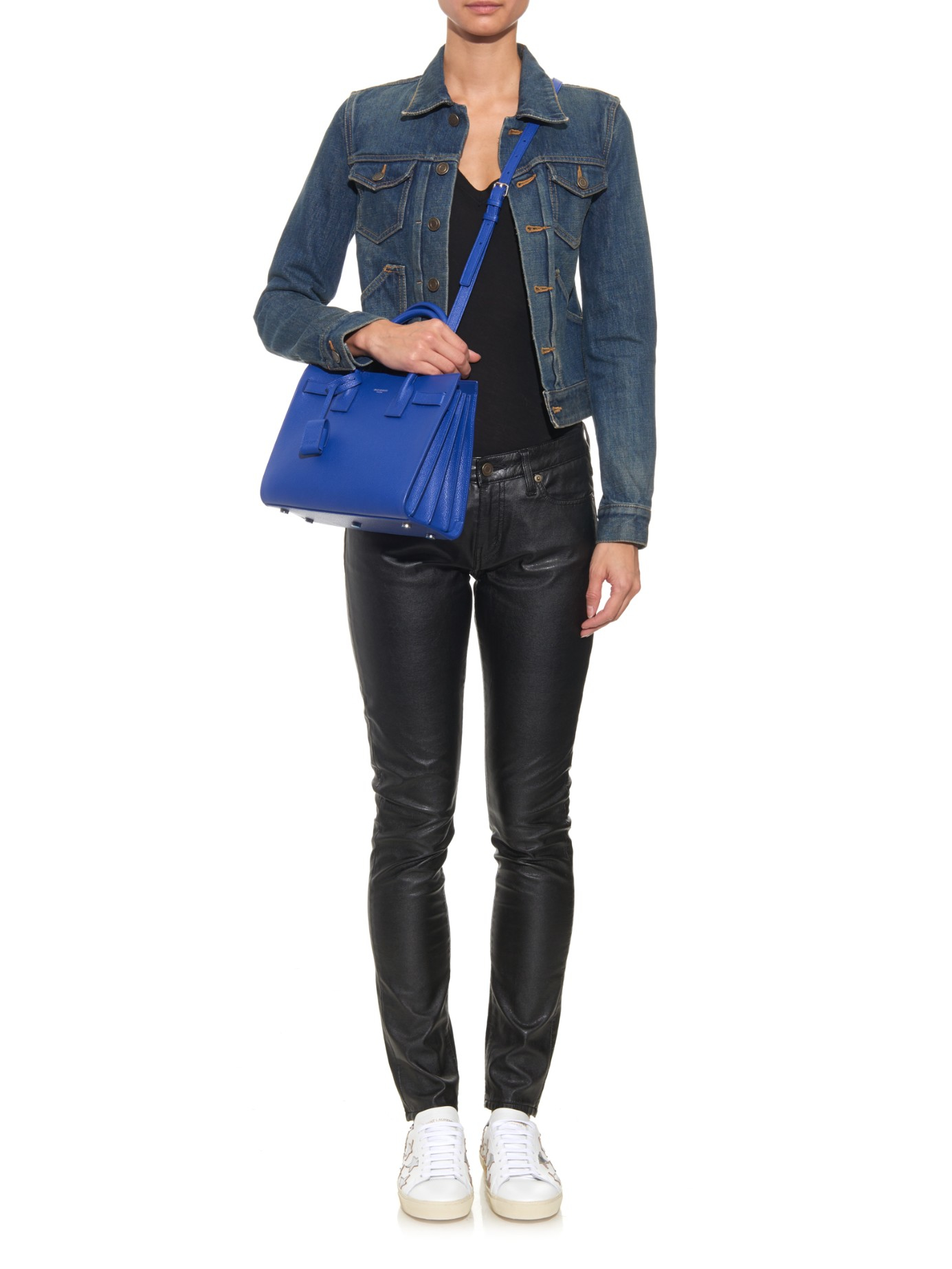 ysl cabas chyc crossbody - sac de jour mini grained leather satchel bag, cobalt