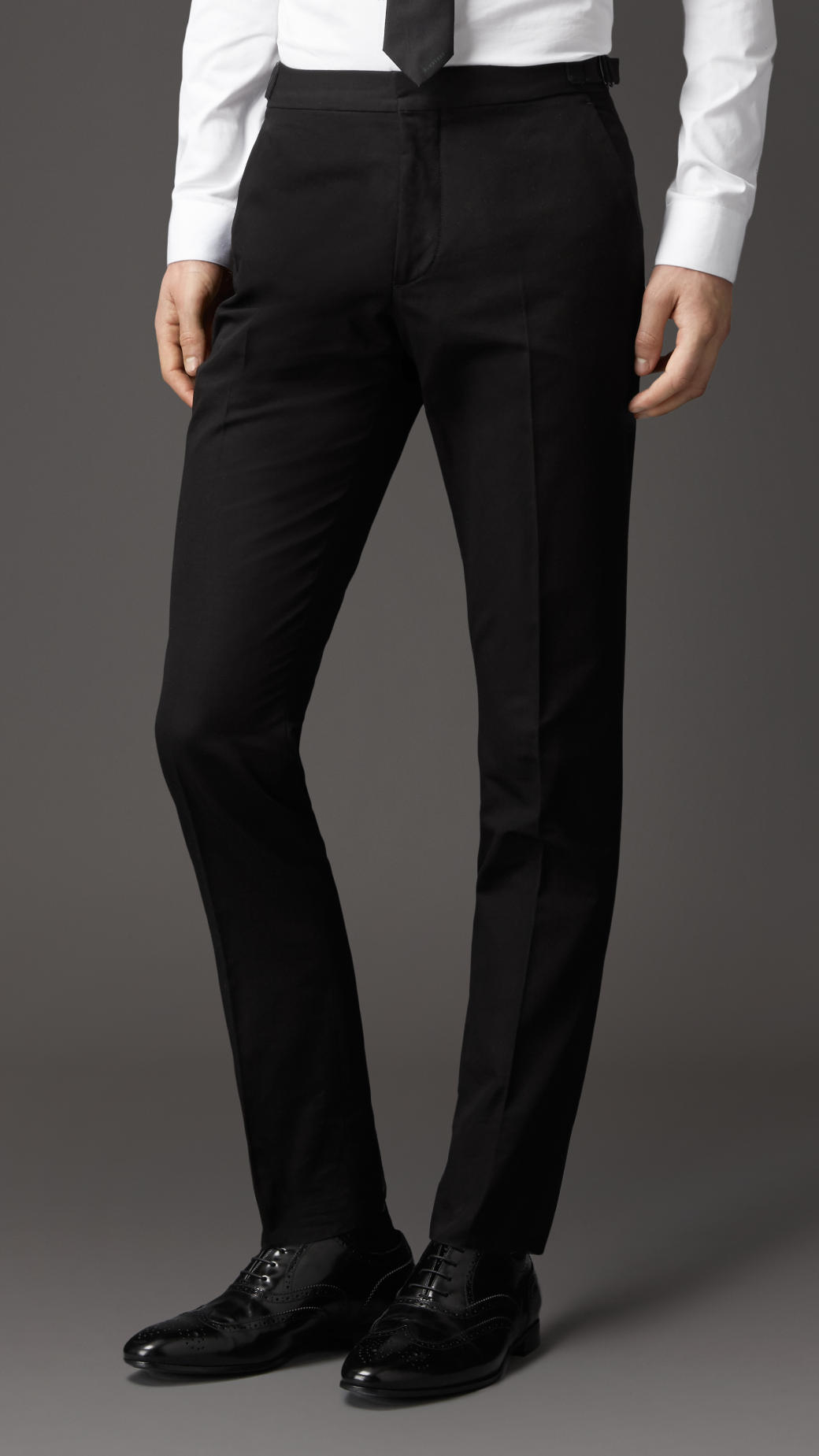 Lyst Burberry Slim Fit Cotton Trousers With Side
