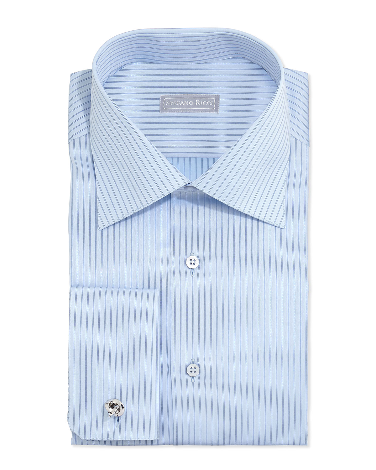 Stefano Ricci Striped French Cuff Solid Dress Shirt In