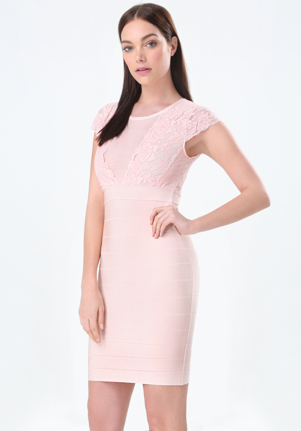 Bebe Scallop Lace Bandage Dress In Pink Lyst