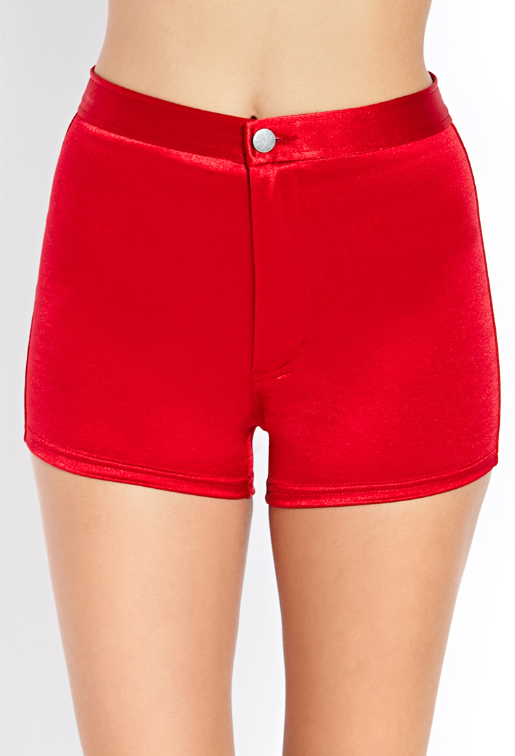 Lyst - Forever 21 Glitzy High-waisted Shorts in Red