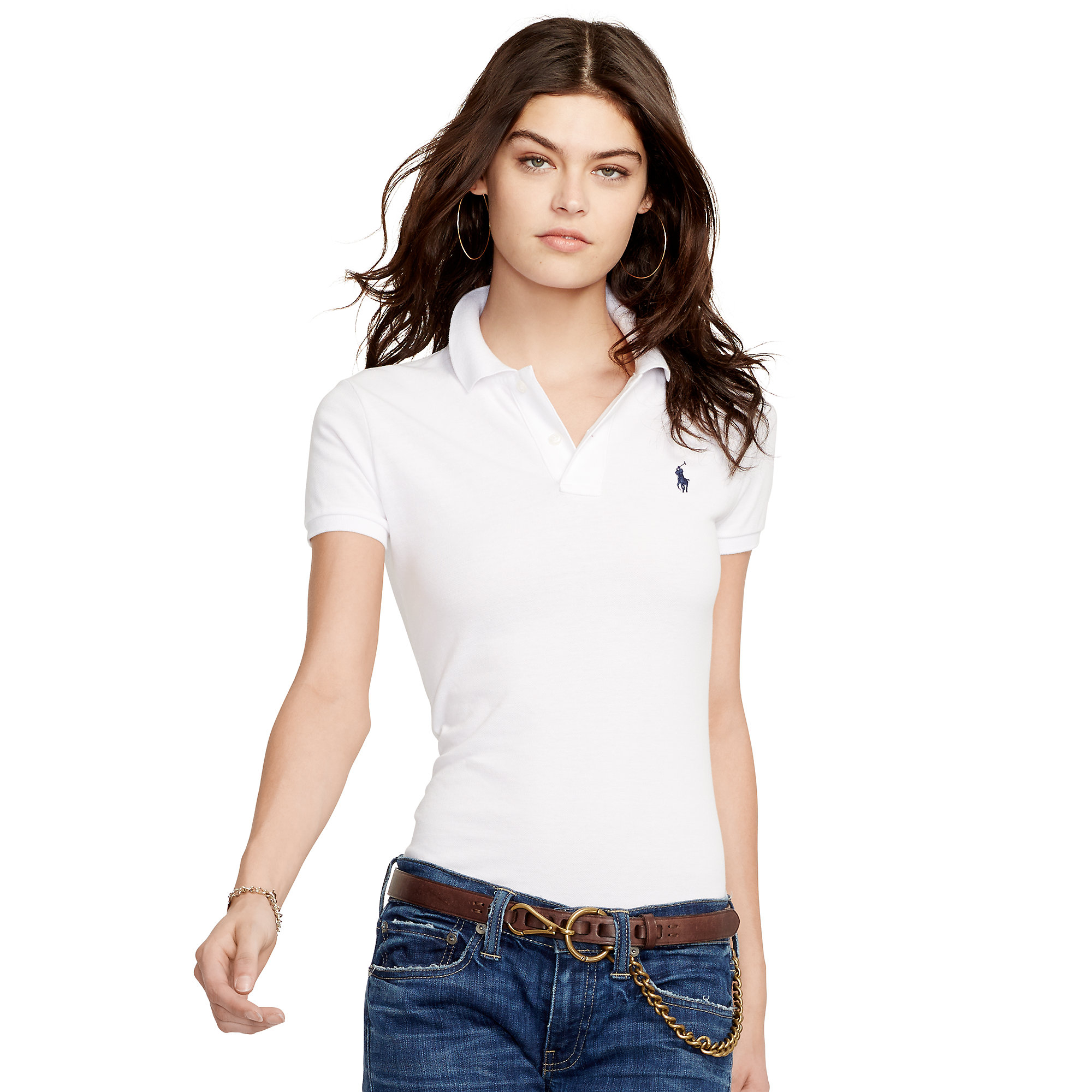 Polo ralph lauren white skinny fit polo shirt lyst for White fitted polo shirts