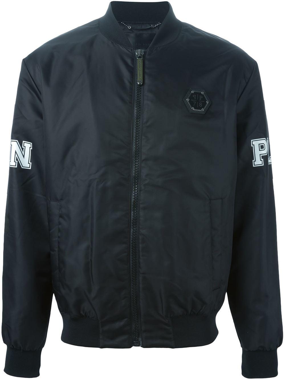 philipp plein 39 too bad 39 bomber jacket in black for men lyst. Black Bedroom Furniture Sets. Home Design Ideas