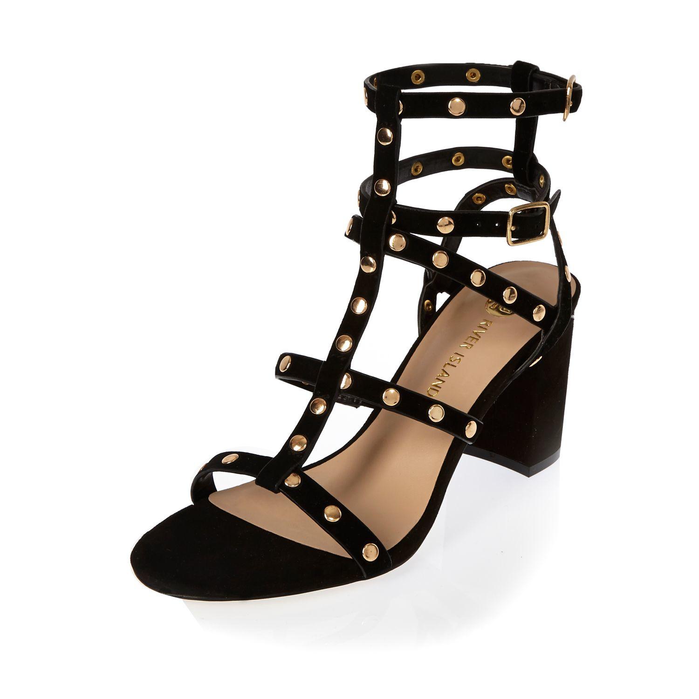 9daaabc2b8ed Lyst - River Island Black Suede Studded Gladiator Heels in Black