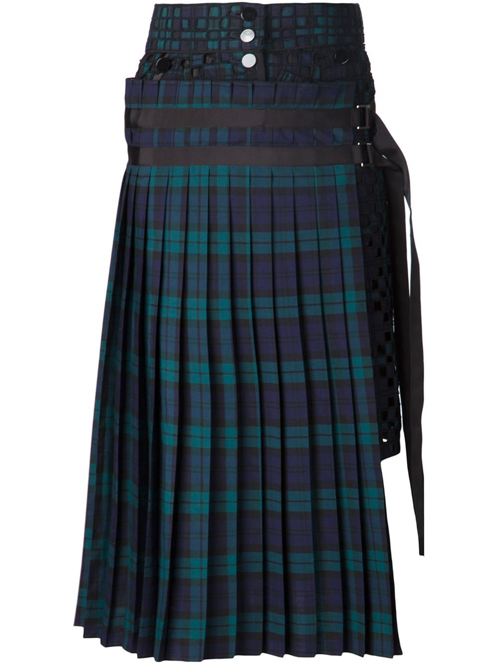 Sacai Plaid Pleated Skirt in Blue | Lyst