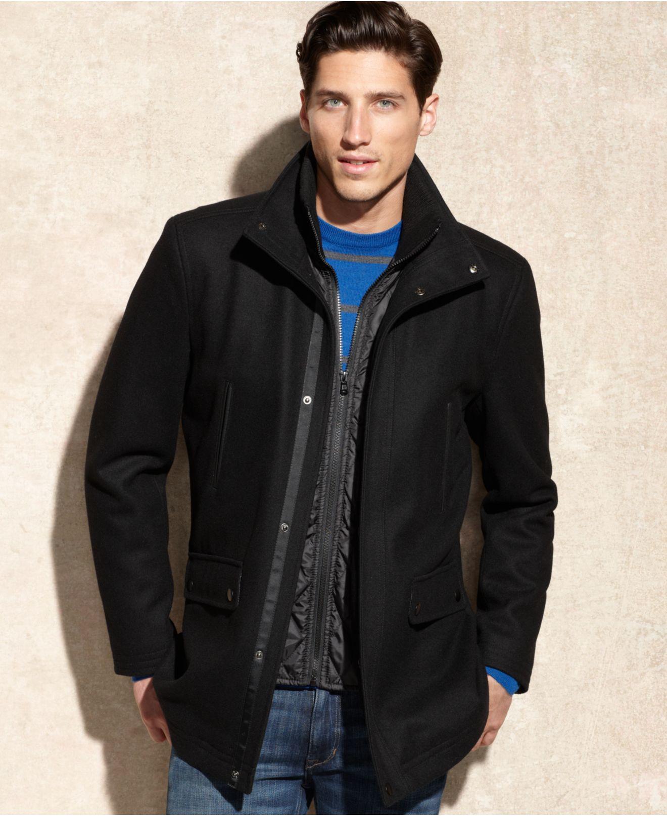 Kenneth cole Wool-blend Tweed Car Coat in Black for Men | Lyst
