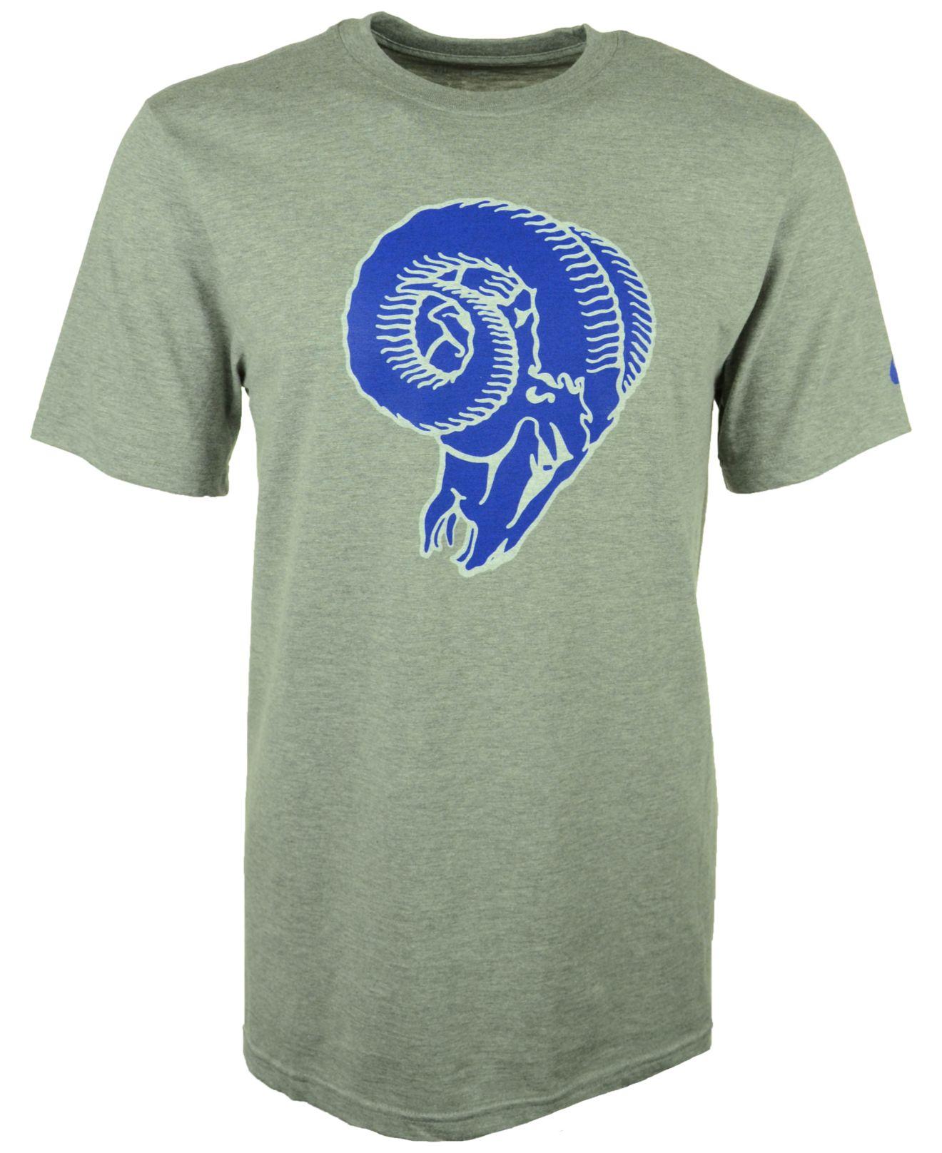 Nike men 39 s st louis rams retro logo t shirt in blue for for St louis t shirt printing