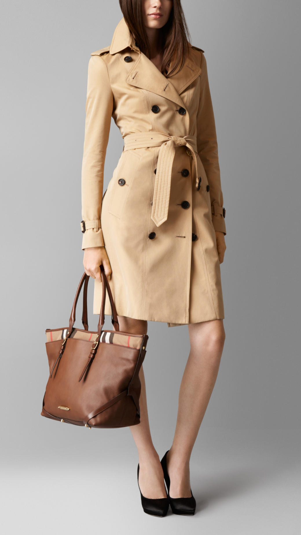560de22ed306 Lyst - Burberry Medium Leather And House Check Tote Bag in Brown