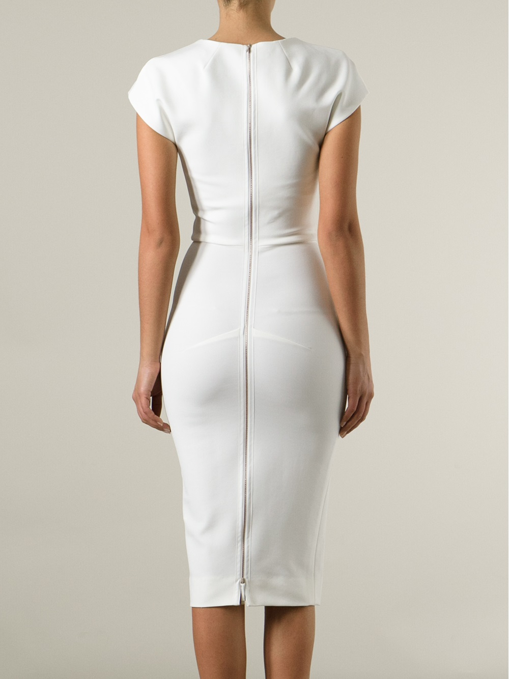 Victoria beckham Fitted Pencil Dress in White - Lyst