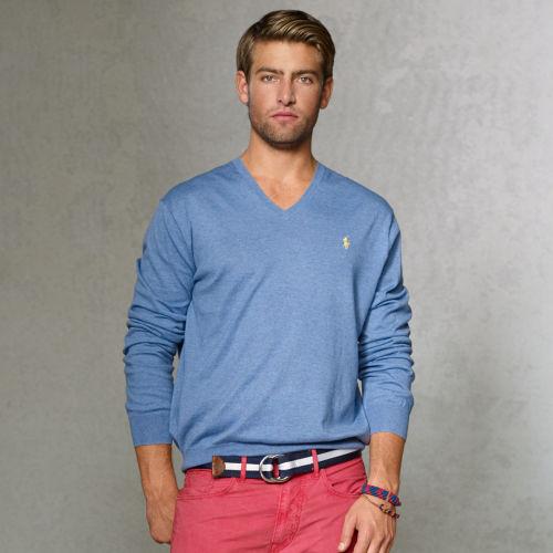 9d56dd68 Polo Ralph Lauren Pima Cotton Vneck Sweater in Blue for Men - Lyst