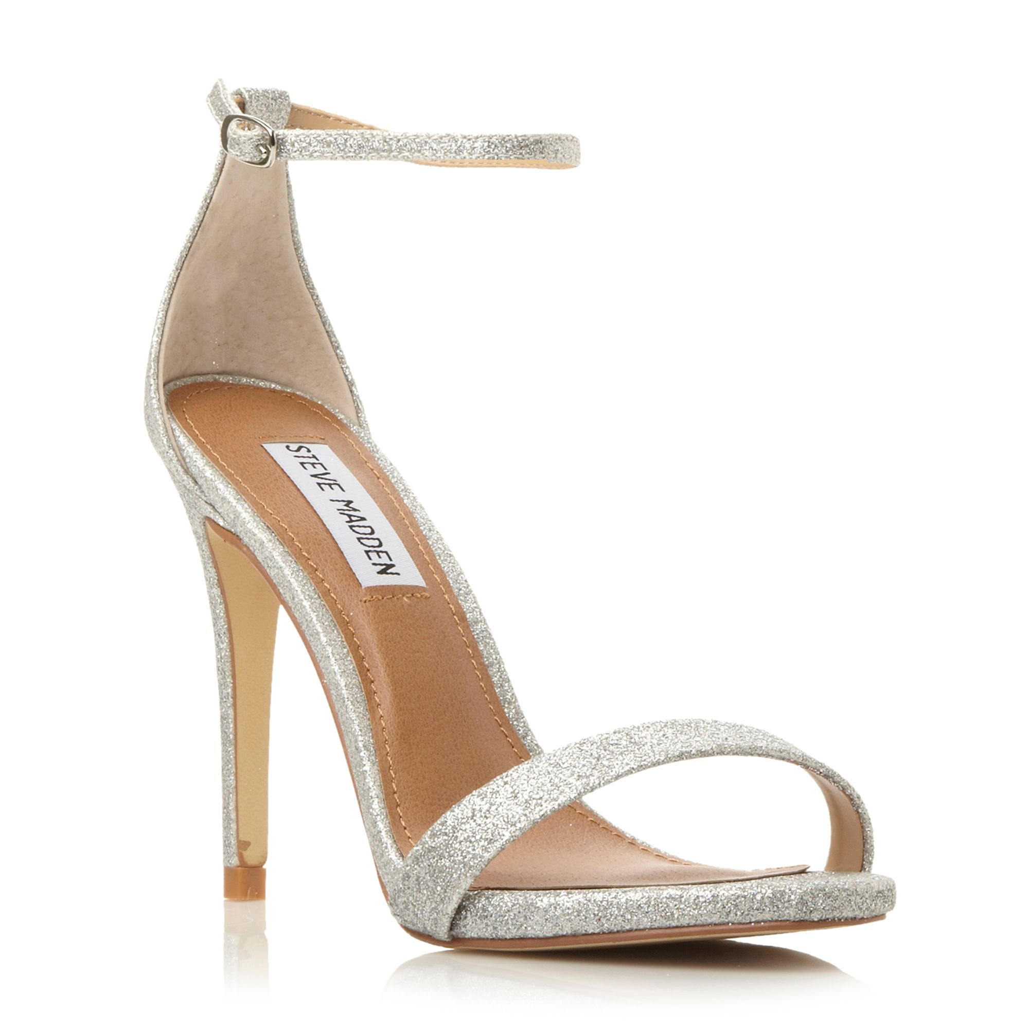 steve madden stecy two part heeled sandals in silver lyst. Black Bedroom Furniture Sets. Home Design Ideas