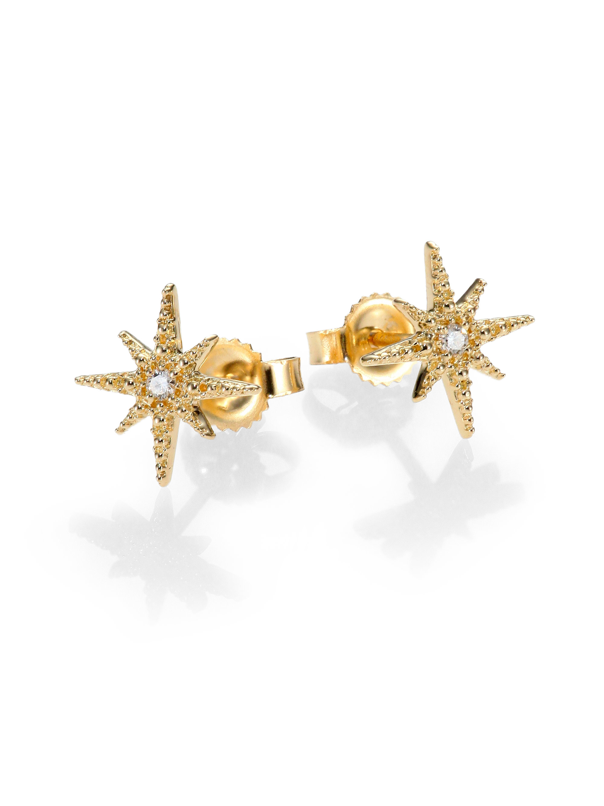 Lyst Mizuki Icicle Diamond 14k Yellow Gold Star Stud Earrings In