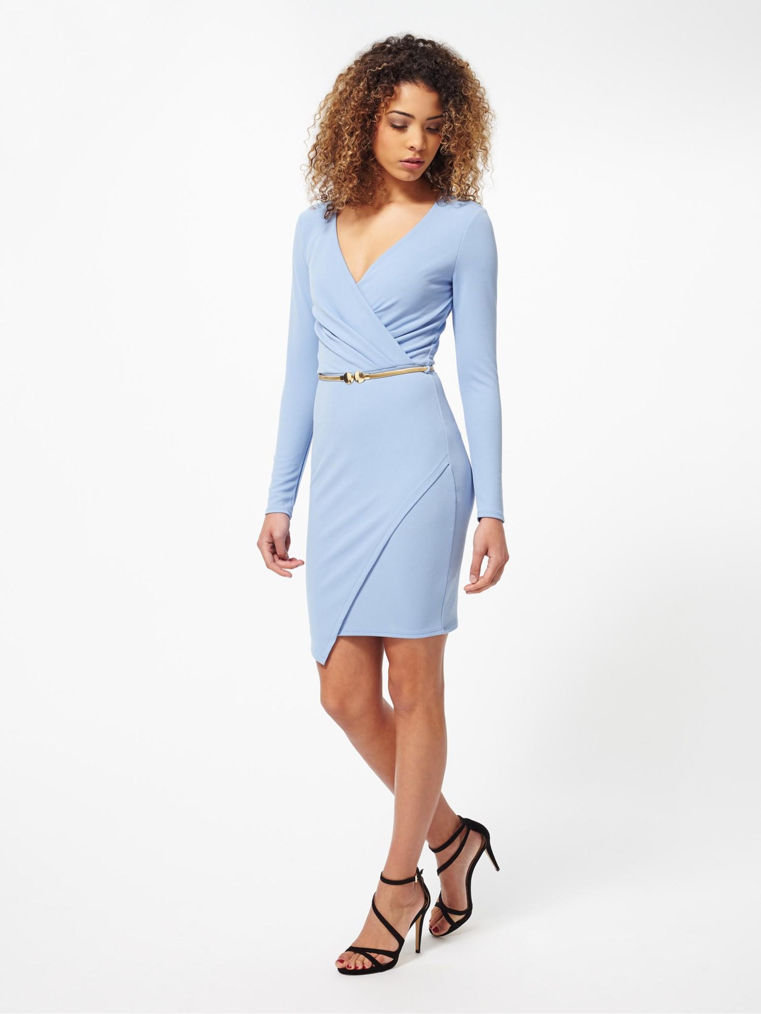 Lyst Miss Selfridge Wrap Front Long Sleeve Dress in Blue