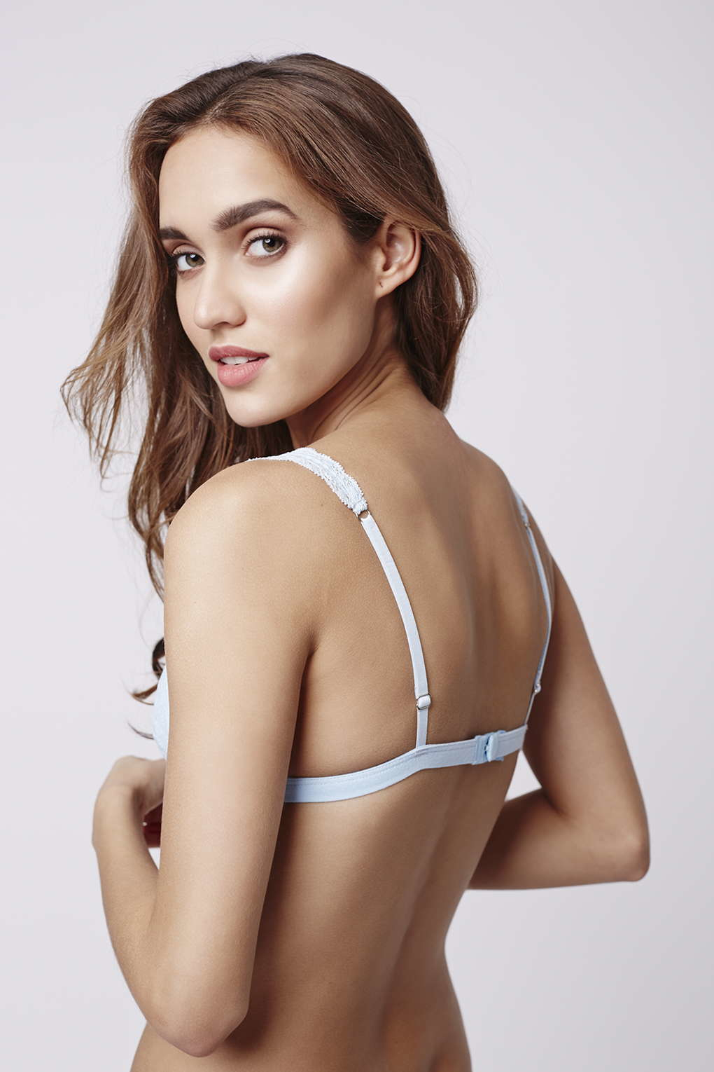cb02bfaa55 Lyst - TOPSHOP Lace Jersey Triangle Bra in Blue