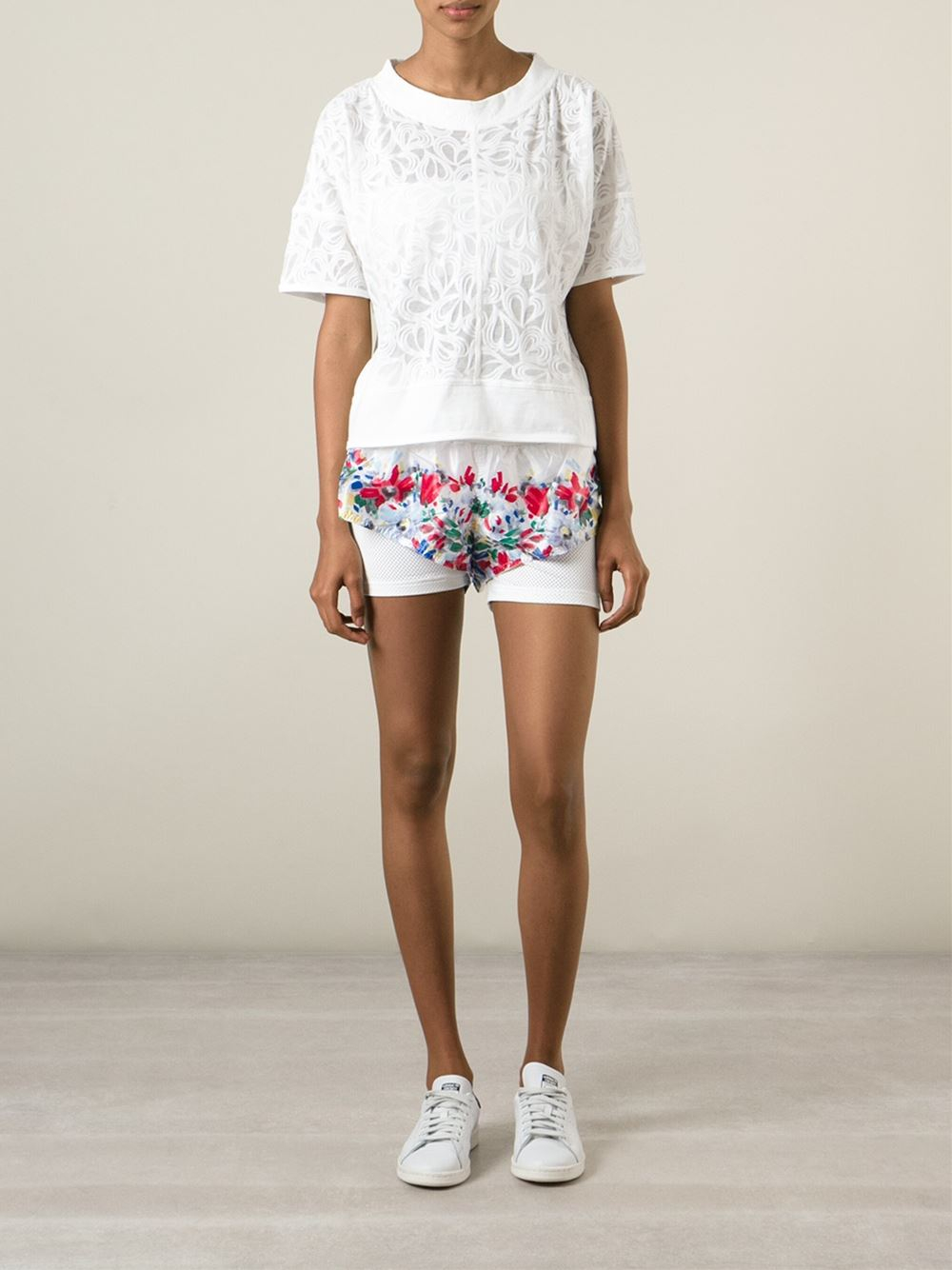 adidas by stella mccartney floral run shorts in floral. Black Bedroom Furniture Sets. Home Design Ideas