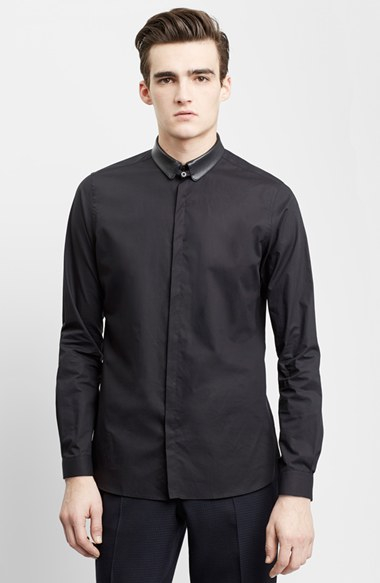 Lyst the kooples trim fit leather collar dress shirt in for Tony collar dress shirt