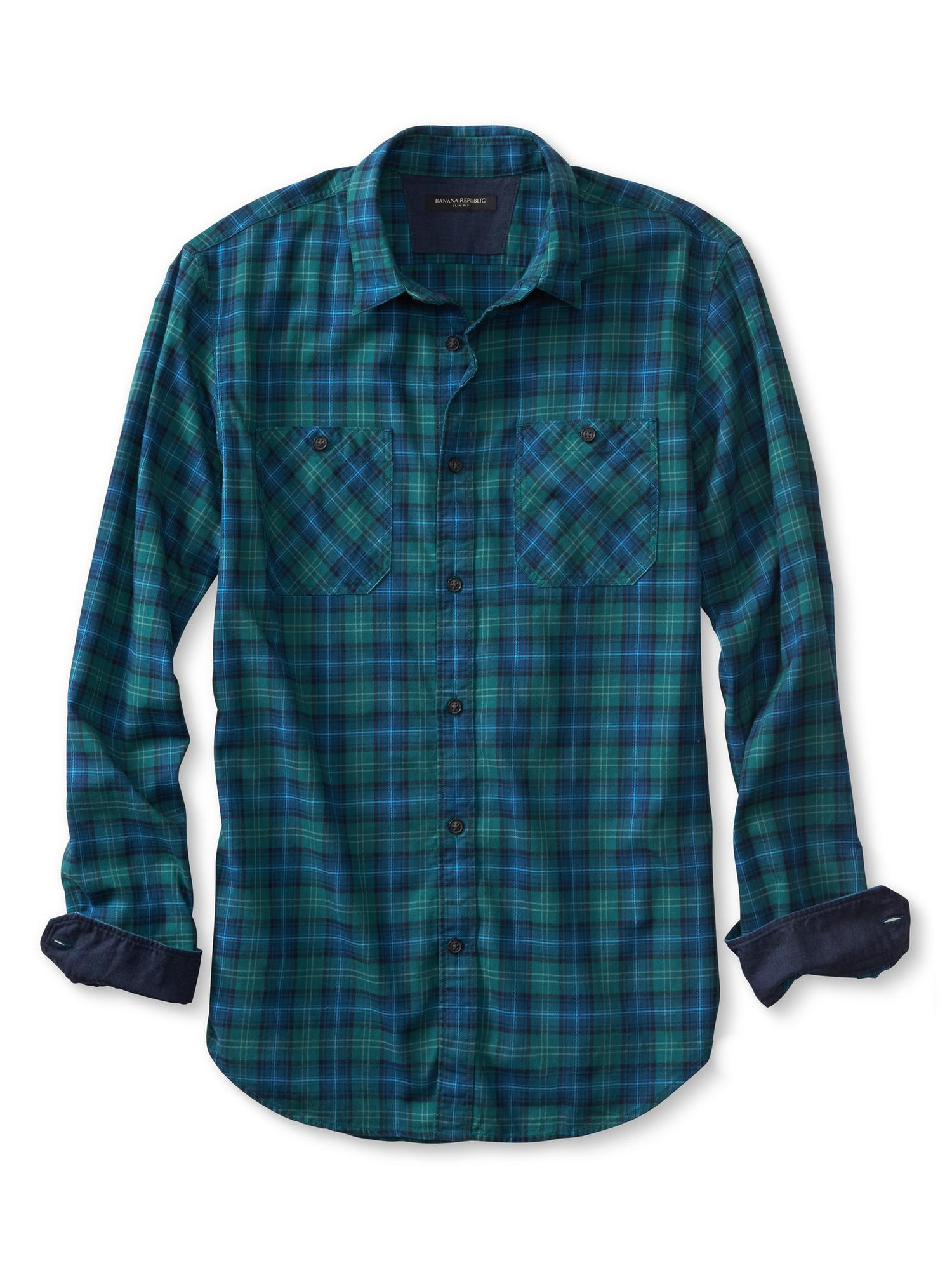Banana republic slim fit green plaid flannel shirt in for Mens slim fit flannel shirt