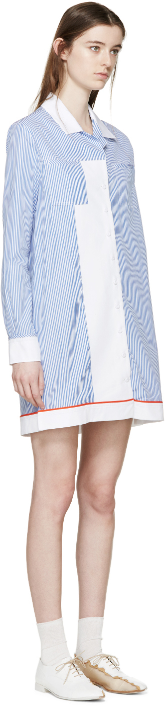 lyst carven blue and white striped shirt dress in white