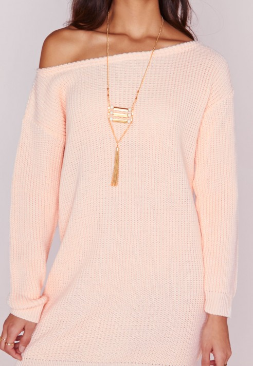 c39c2c6125 Lyst - Missguided Off Shoulder Knitted Jumper Dress Blush in Pink