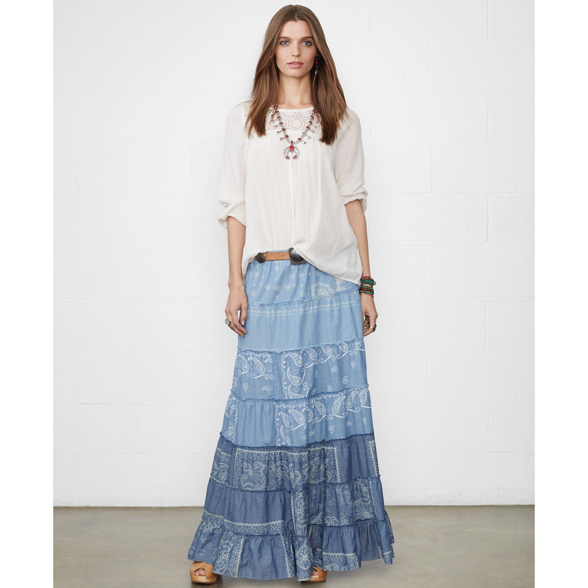 39d270254e Denim & Supply Ralph Lauren Tiered Bandanaprint Maxi Skirt in Blue ...