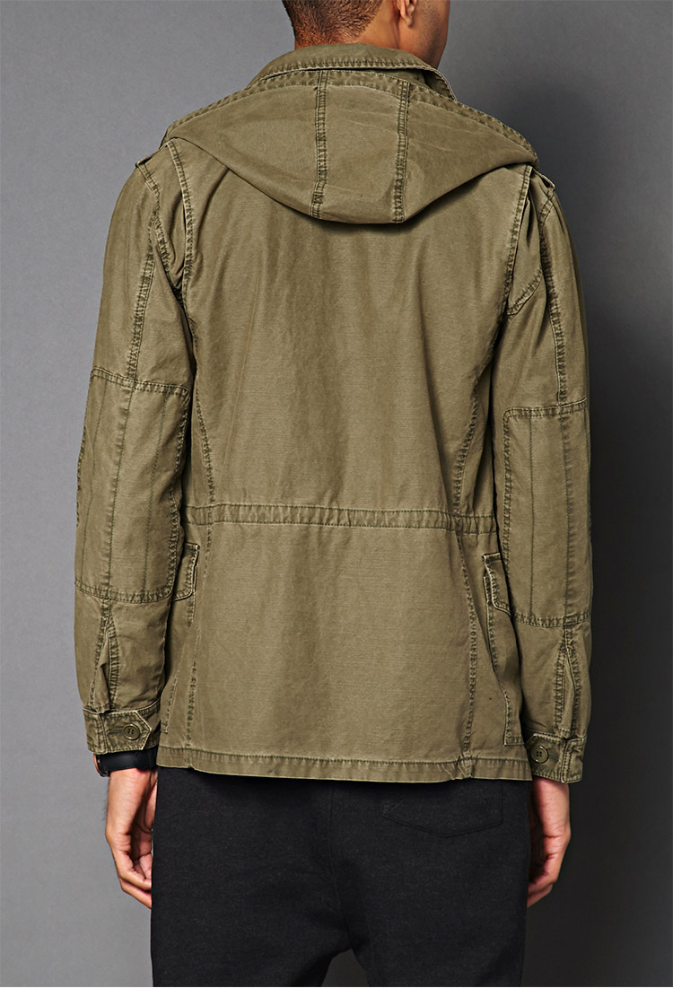Utility Jacket Jackets And Nike: Forever 21 Detachable Hood Utility Jacket In Natural For
