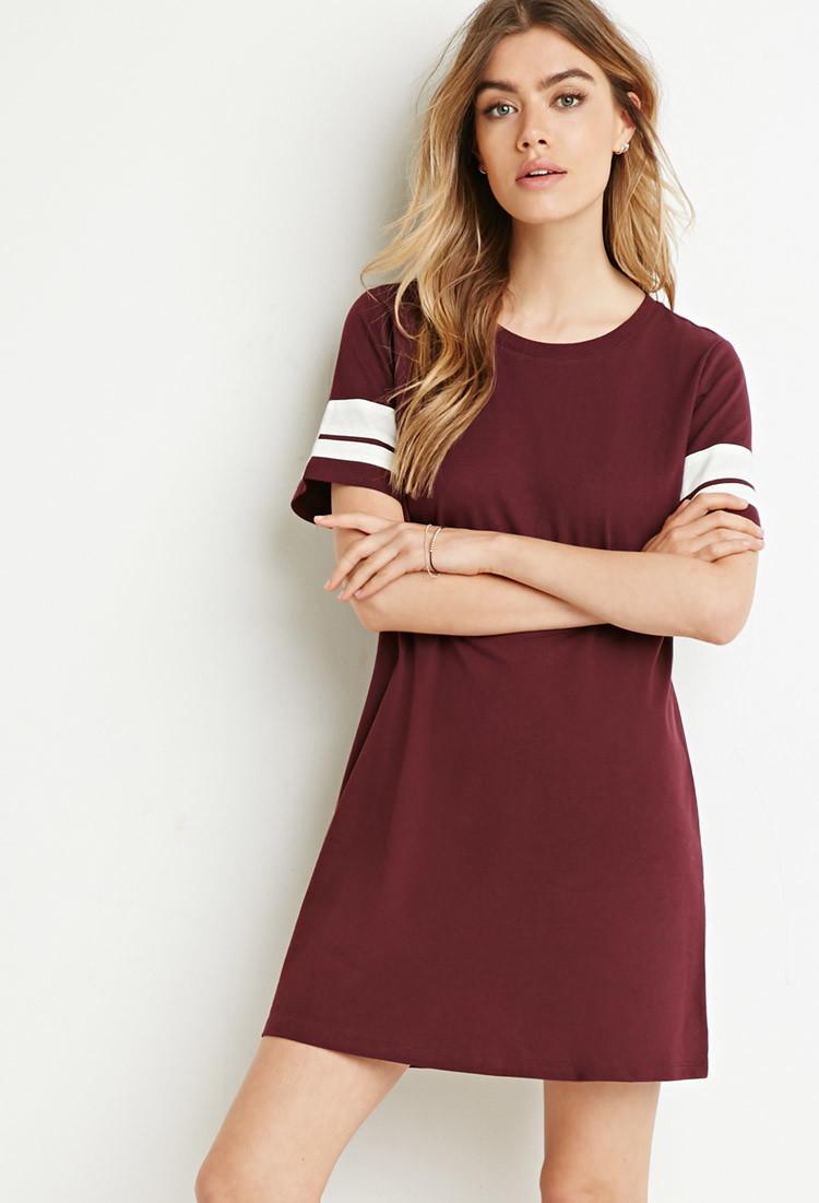 3e1d1b87b86 Forever 21 Varsity-striped T-shirt Dress in Purple - Lyst