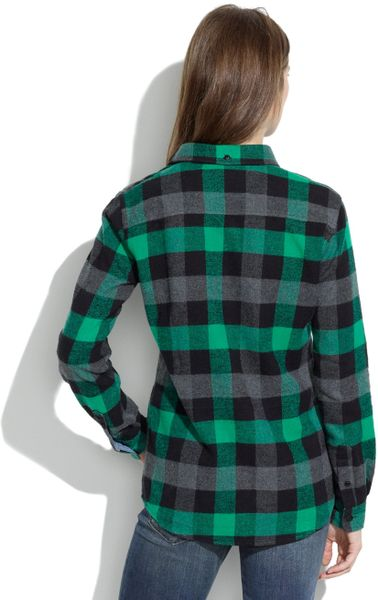Madewell penfield chatham buffalo plaid flannel shirt in for Green and black plaid flannel shirt