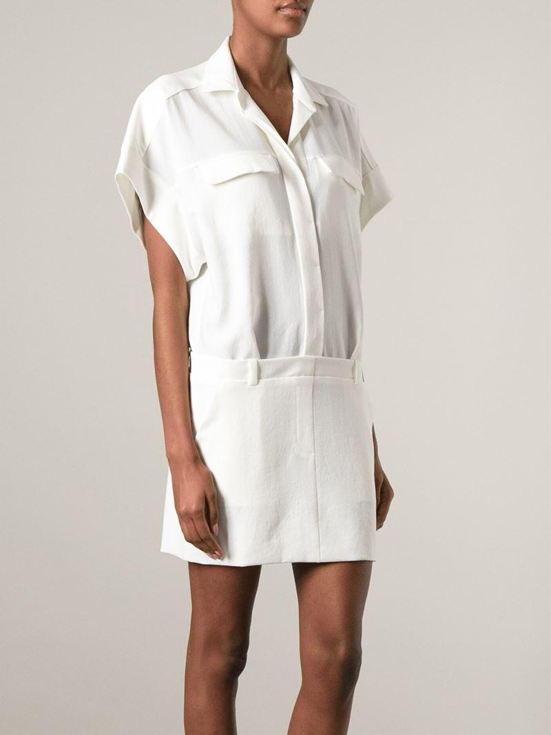 Iro short sleeve shirt style dress in white lyst for Short sleeve white dress shirt