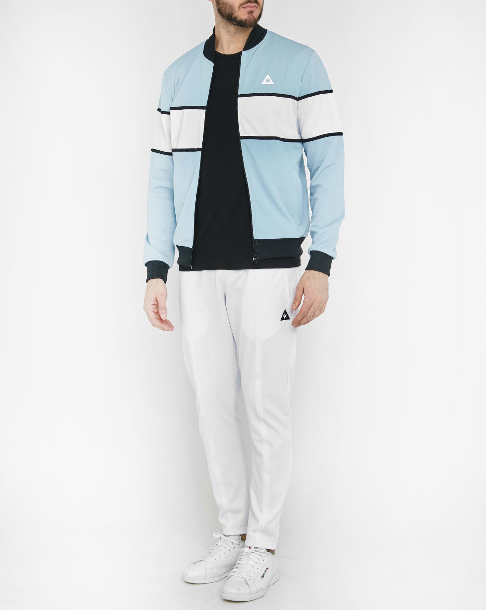 le coq sportif sky blue colour block track jacket in blue for men lyst. Black Bedroom Furniture Sets. Home Design Ideas