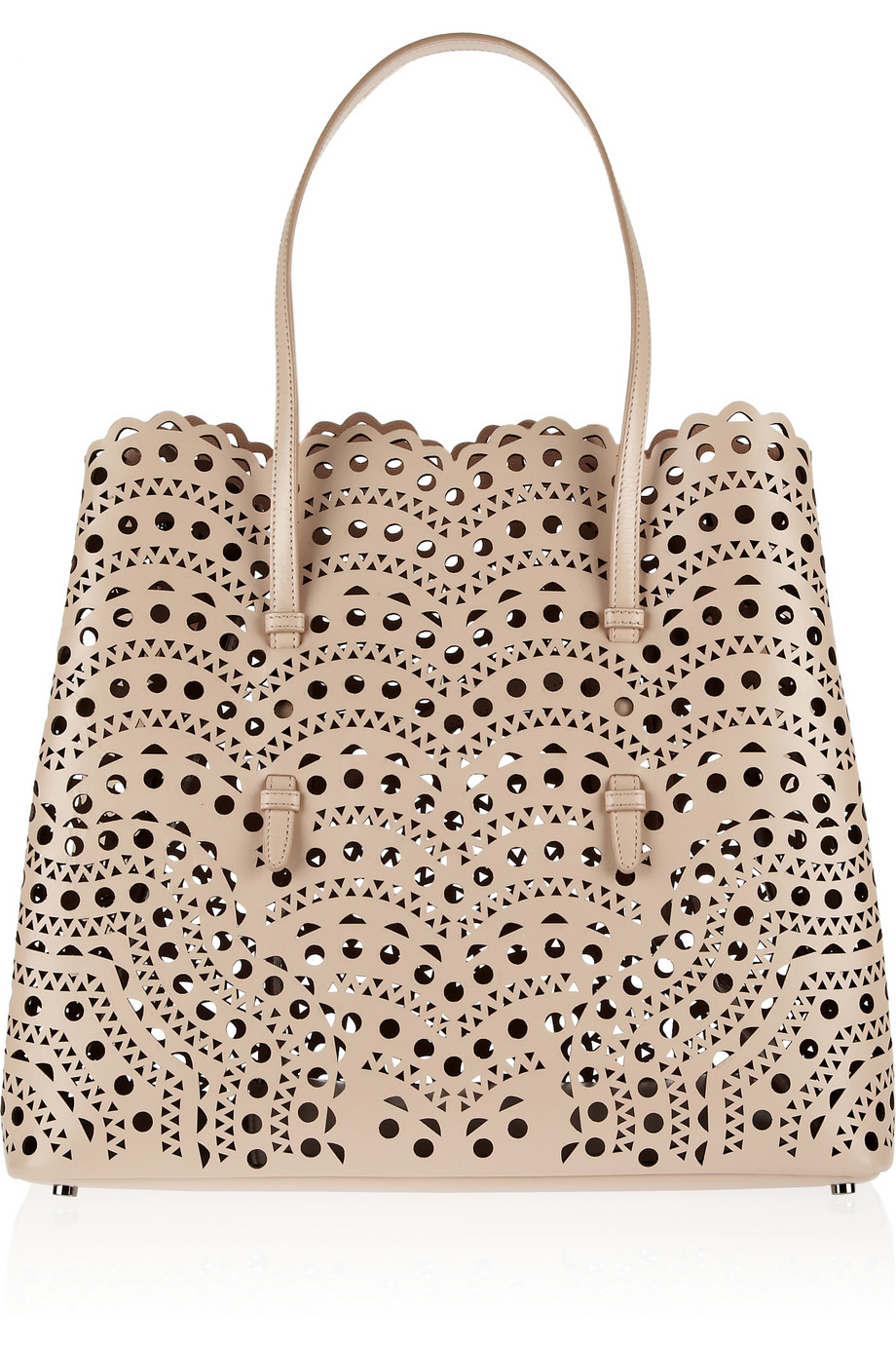 Ala 239 A Lasercut Leather Tote In Natural Lyst