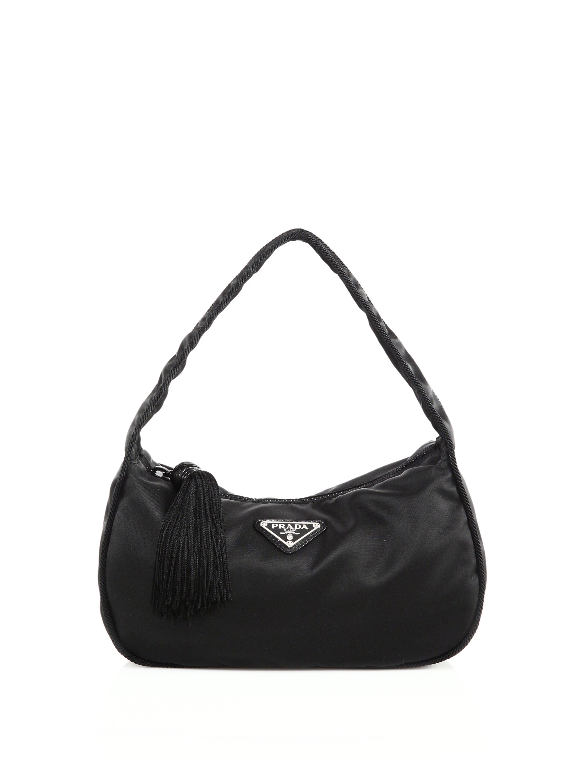 98c9da9daca6 Prada Nylon Crescent Shoulder Bag in Black - Lyst