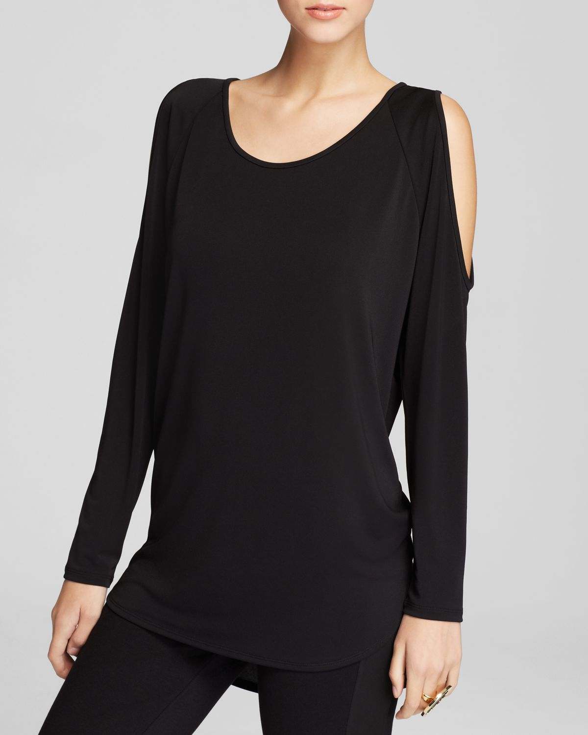 17c80f91592 DKNY - Black Cold Shoulder Scoop Neck Tee Bloomingdales Exclusive - Lyst