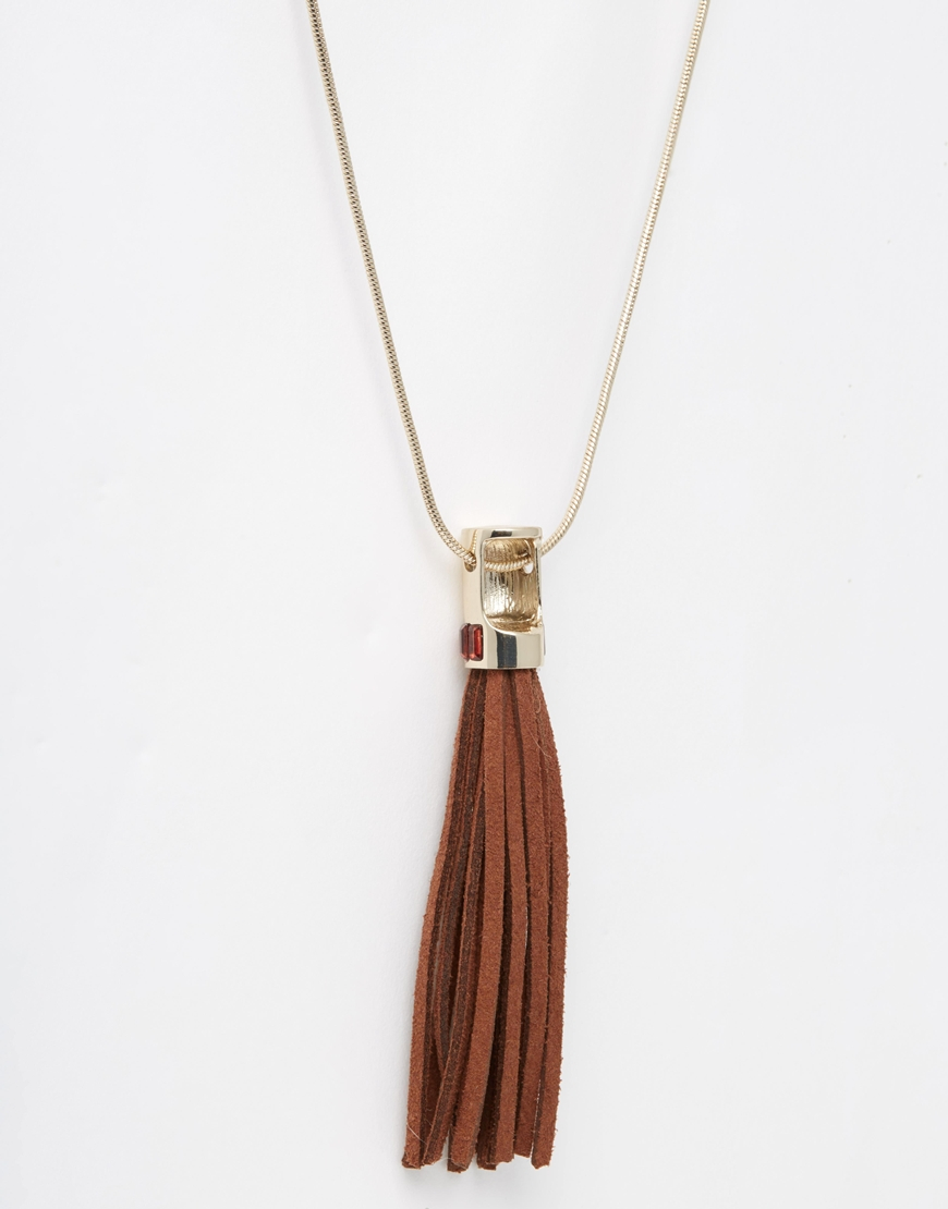 oasis suede tassel pendant necklace in brown lyst