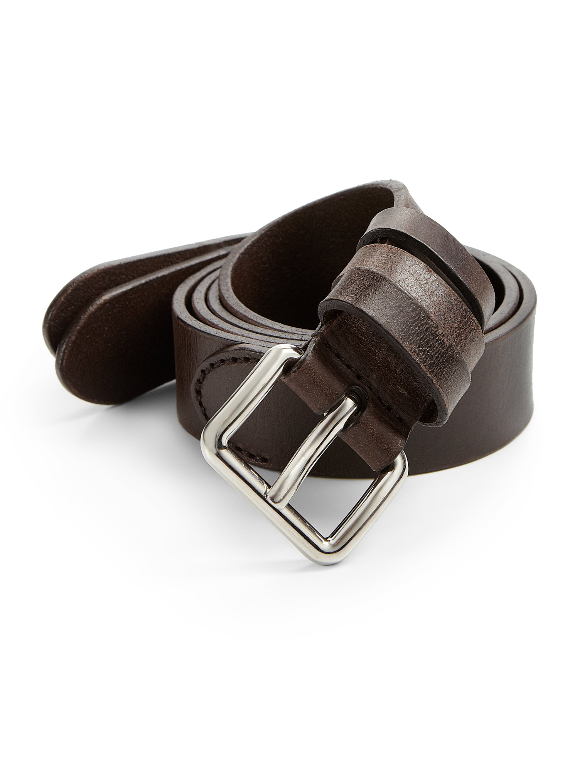 Prada Calfskin Leather Belt In Brown For Men