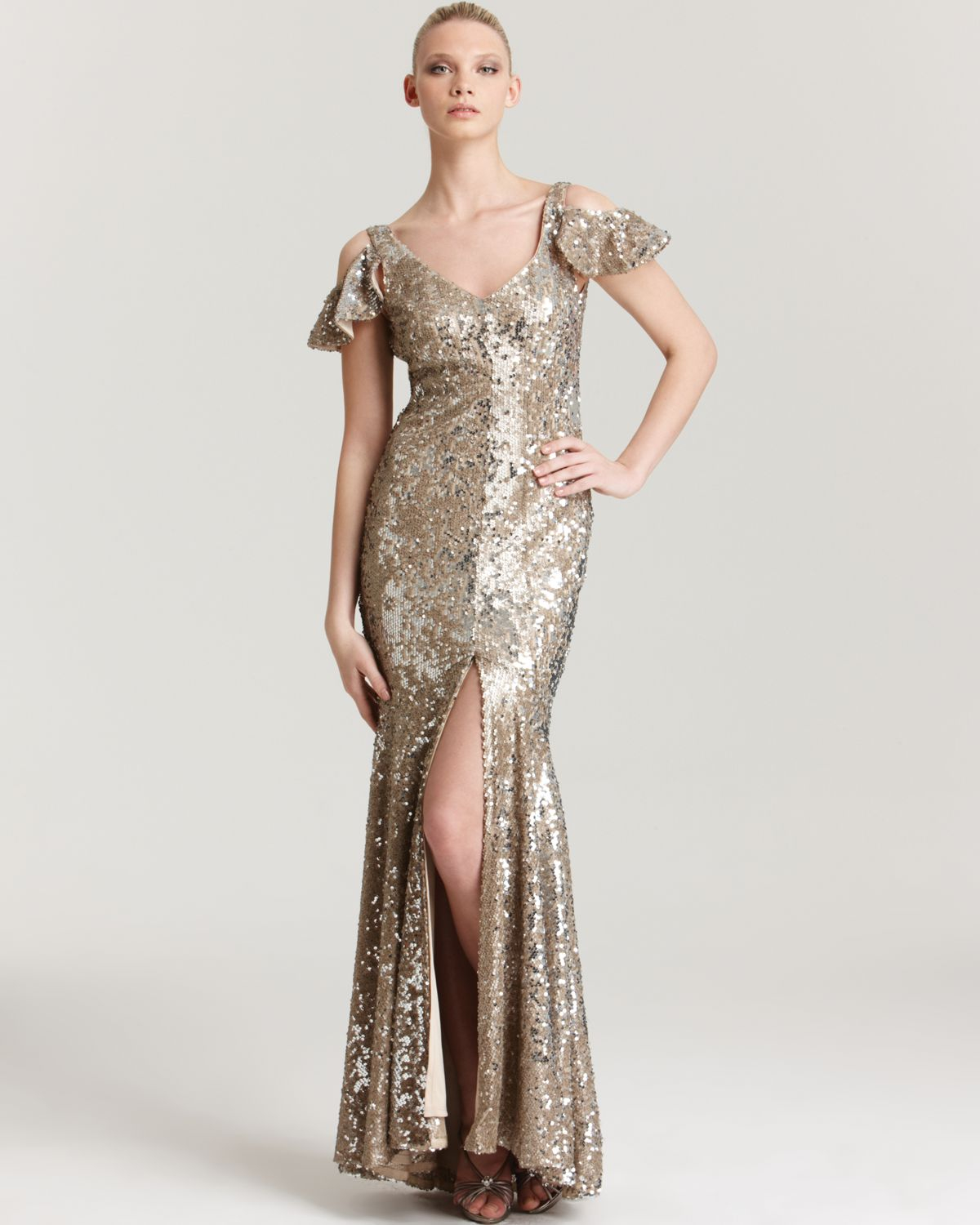 Abs By Allen Schwartz Sequin Gown Cutout Shoulder in Metallic - Lyst