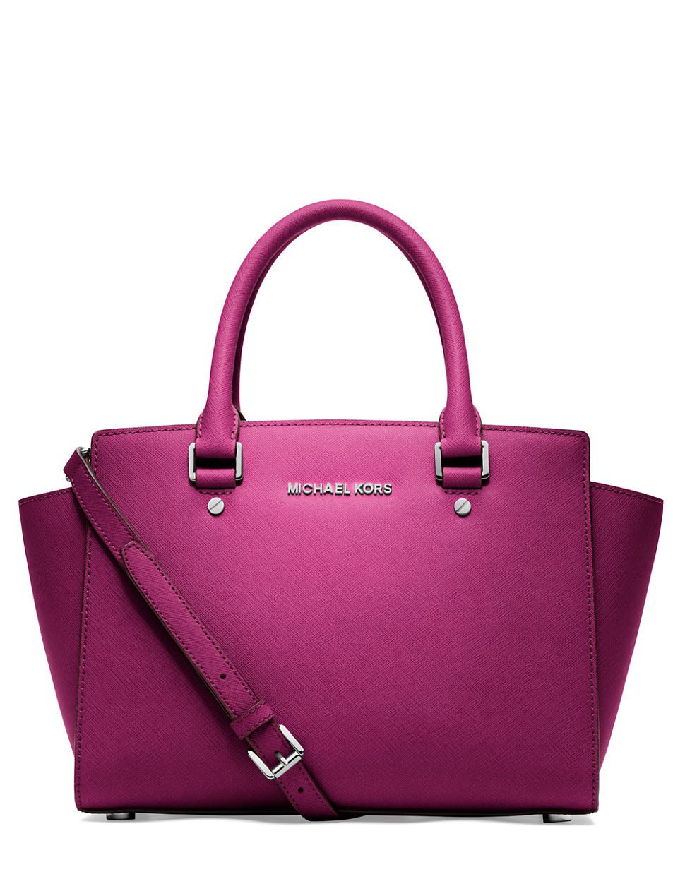 michael michael kors selma leather medium zip satchel in pink fuschia. Black Bedroom Furniture Sets. Home Design Ideas