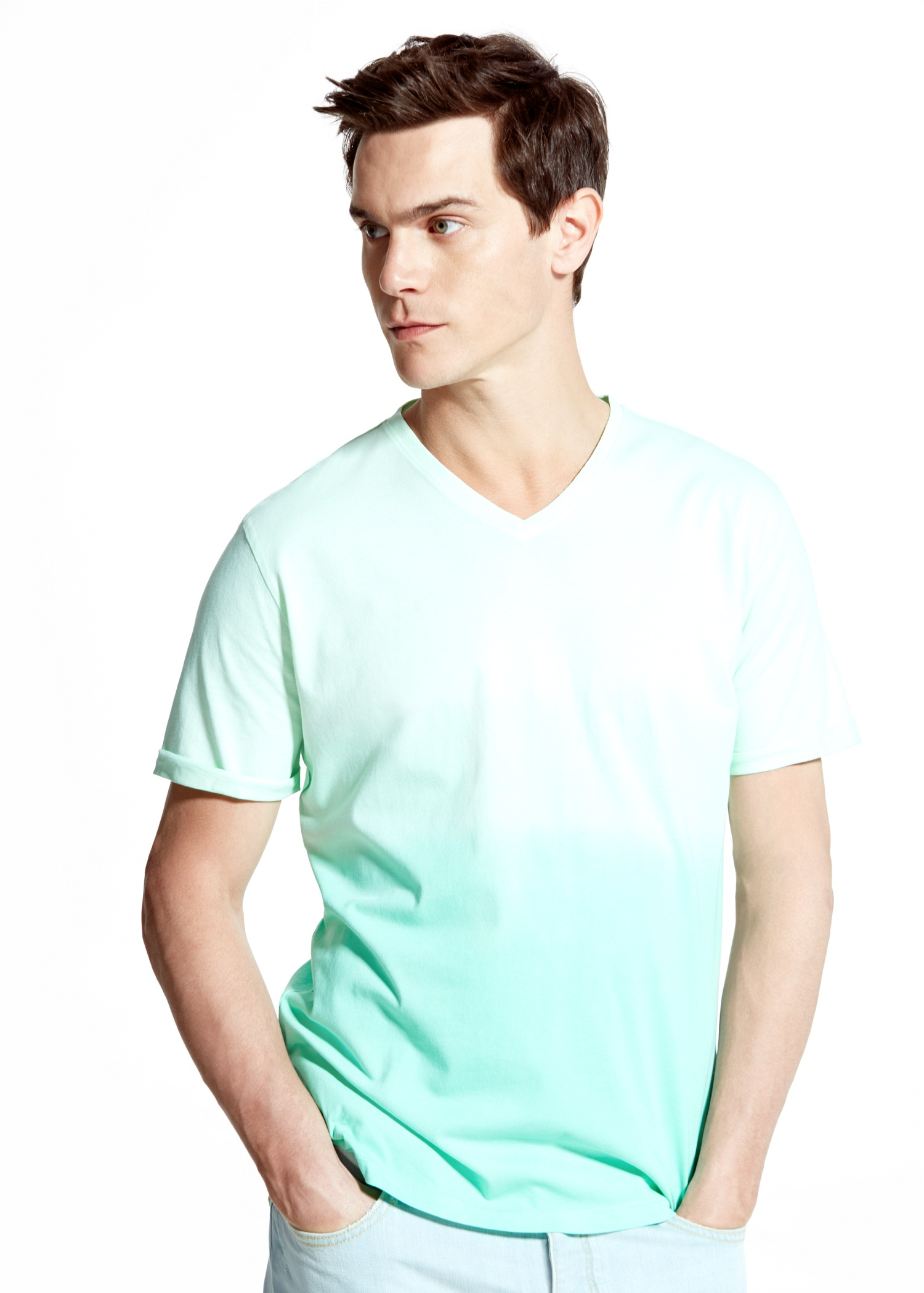 Lyst mango degrade cotton t shirt in green for men for Pastel colored men s t shirts